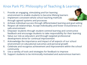 Knox Park Primary School, Victoria Learning and Teaching Philosophy