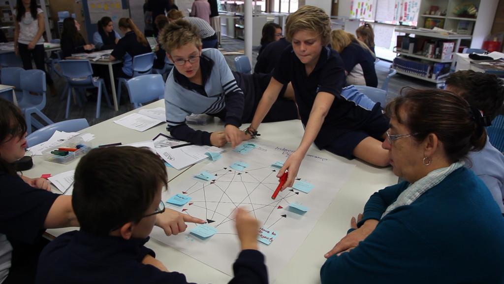 Students from Hallett Cove R-12 School in South Australia complete an Inter-relationship Digraph